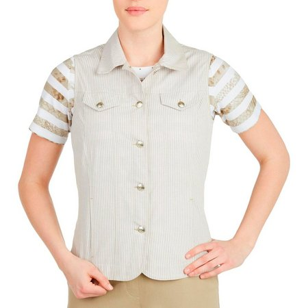 Alia Womens Khaki Striped Button Front Vest