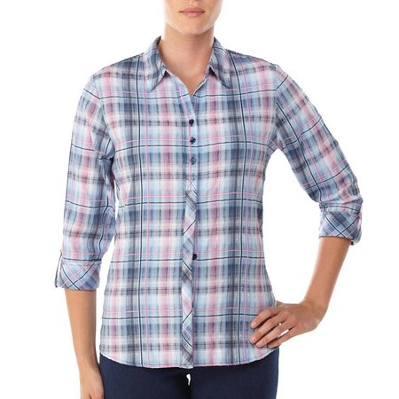 Alia Womens Blue & Pink Crinkle Plaid Top
