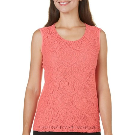 Alia Womens Solid Rose Print Lace Tank Top