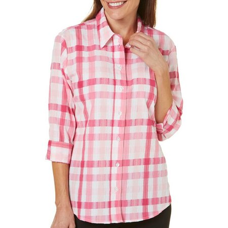 Alia Womens Crinkle Plaid Print Button Front Top
