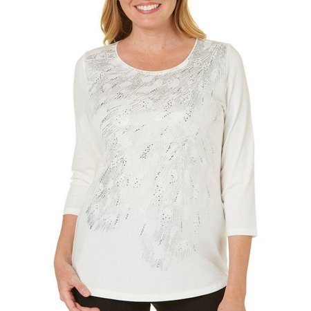 Alia Womens Embellished Foil Print Top