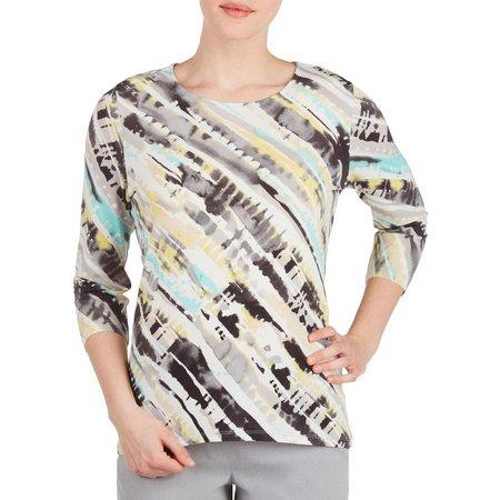 Alia Womens Groove Stripes Print Top