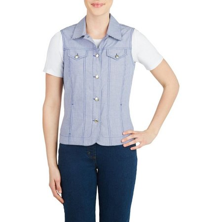 Alia Womens Striped Button Front Vest