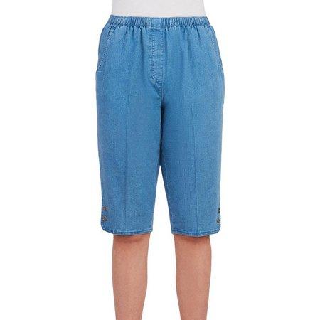 Alia Womens Solid Denim Skimmer Shorts