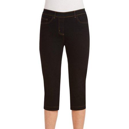 Alia Womens Solid Pocket Denim Capris