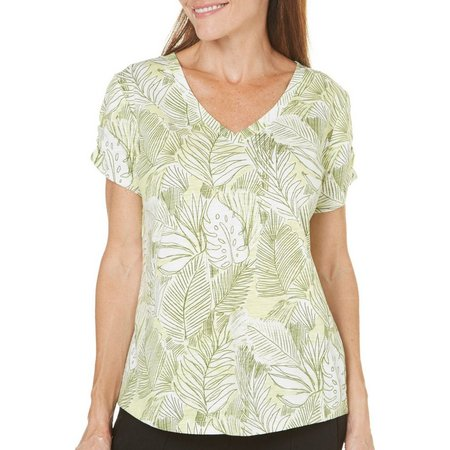 Juniper + Lime Womens Iris Palm Print Top
