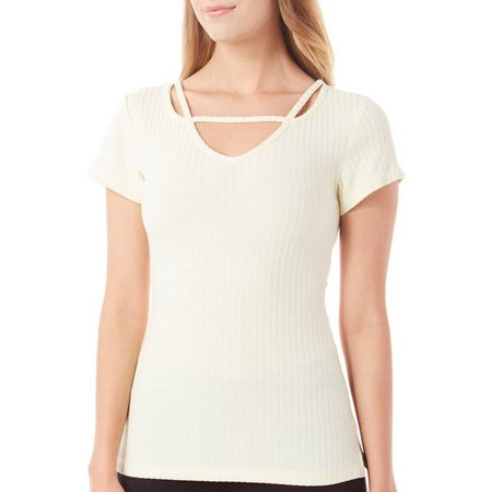 Juniper + Lime Womens Heathered Short Sleve Top