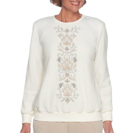 Alfred Dunner Womens Embroidered Sweatshirt