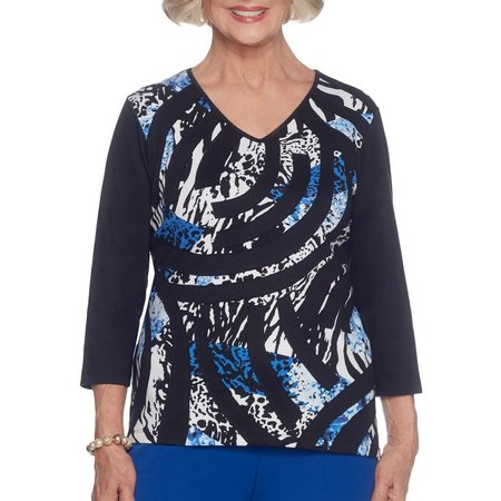 Alfred Dunner Womens Patchwork Print Top