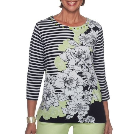Alfred Dunner Womens In The Limelight Print Top