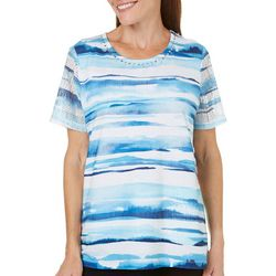 Alfred Dunner Womens Scenic Route Stripe Top