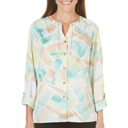 Alfred Dunner Womens Ladies Who Lunch Printed Top