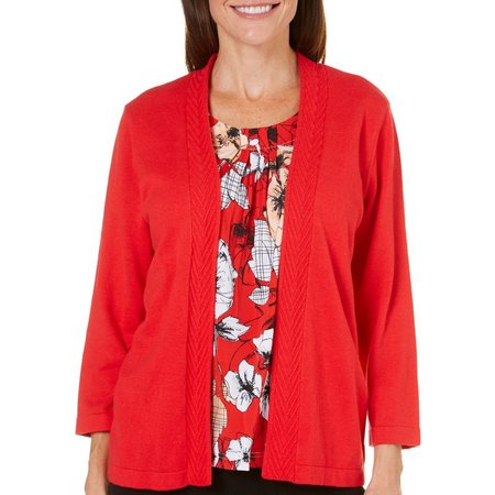 Alfred Dunner Womens Ethnic Beat Floral Sweater