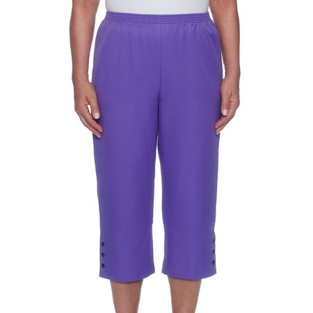 Alfred Dunner Womens Pull On Side Button Capris