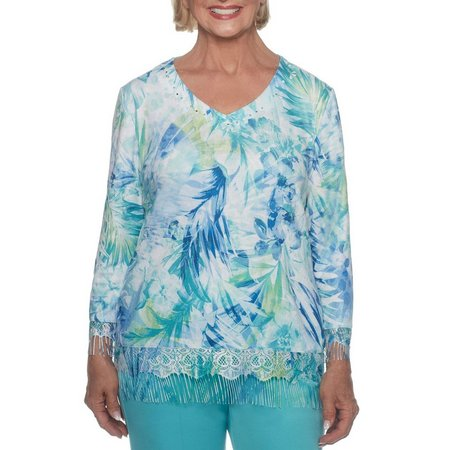 Alfred Dunner Womens Lace Fringe Tropical Floral Top