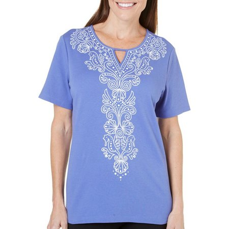 Alfred Dunner Womens Reel It In Seahorse Top