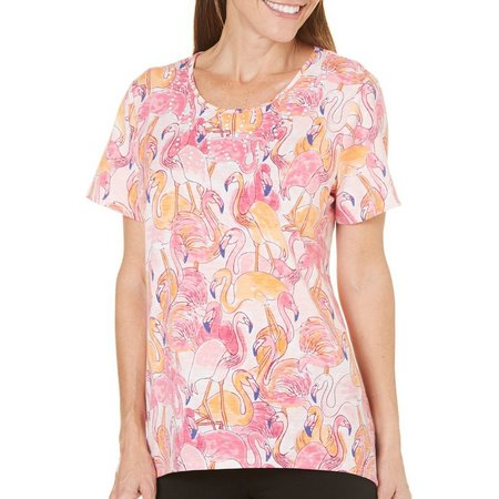 Alfred Dunner Womens Reel It In Flamingo Print