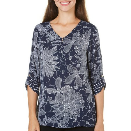 Alfred Dunner Womens Seas The Day Floral Woven