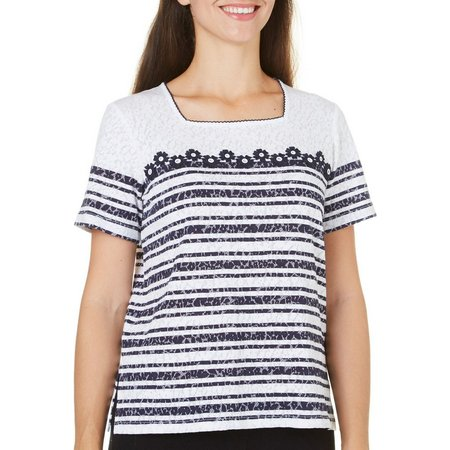Alfred Dunner Womens Seas The Day Stripe Top