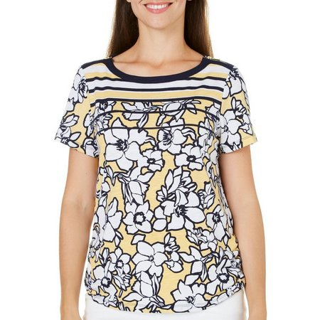 Alfred Dunner Womens Seas The Day Floral Top
