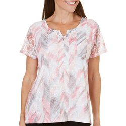New! Alfred Dunner Womens Rose Hill Floral Lace