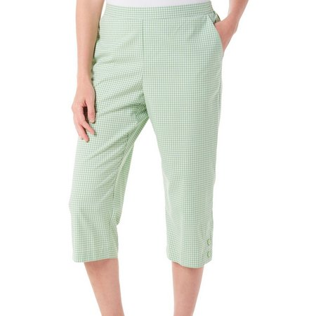 Alfred Dunner Womens Garden Party Gingham Capris