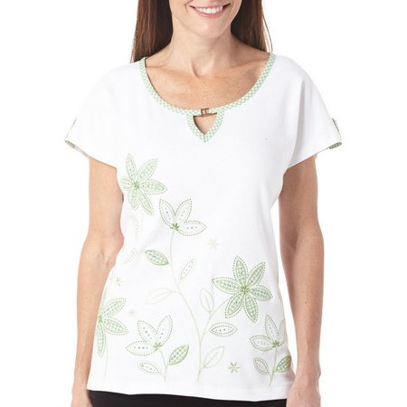 Alfred Dunner Womens Garden Party Floral Top