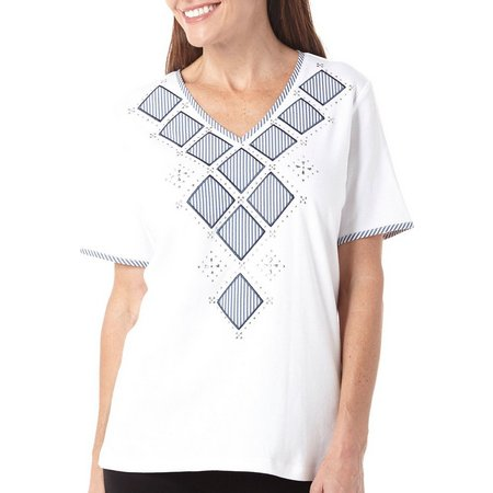 Alfred Dunner Womens Garden Party Embellished Top