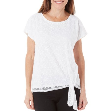 Alfred Dunner Womens Lady Liberty Star Mesh Top