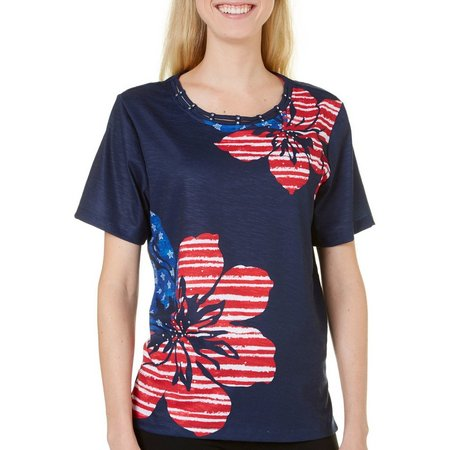 Alfred Dunner Womens Lady Liberty Floral Top