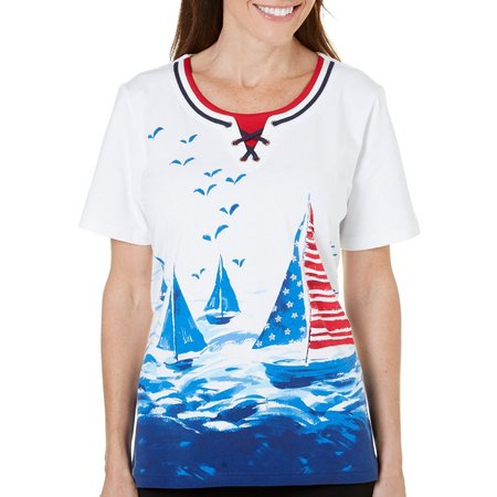 Alfred Dunner Womens Lady Liberty Sailbaot Top
