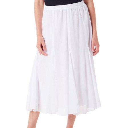 Alfred Dunner Womens Bahama Bays Solid Gauze Skirt