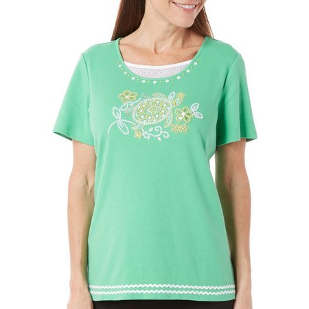 Alfred Dunner Womens Bahama Bays Turtle Top