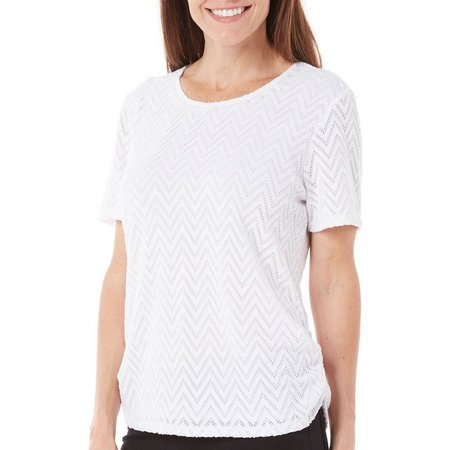 Alfred Dunner Womens Bahama Bays Lace Top