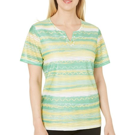 Alfred Dunner Womens Bahama Bays Striped Top