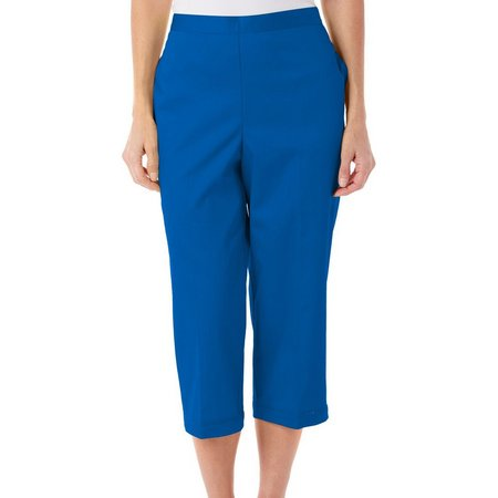 New! Alfred Dunner Womens Corsica Solid Sateen Capris