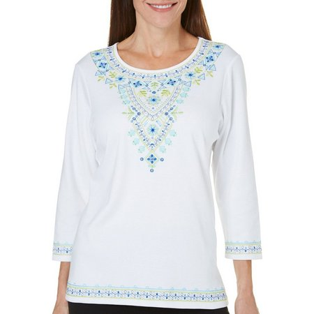 Alfred Dunner Womens Corsica Embroidered Top