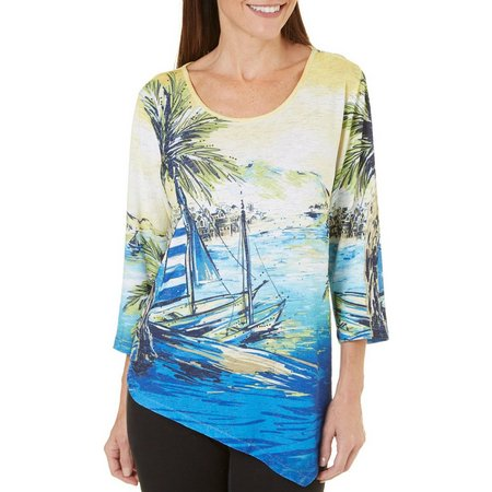 New! Alfred Dunner Womens Corsica Boat Scene Top