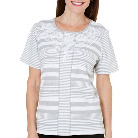 New! Alfred Dunner Womens Long Weekend Striped Top