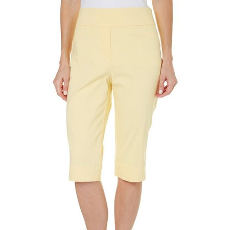 Alfred Dunner Womens Blue Lagoon Solid Capris