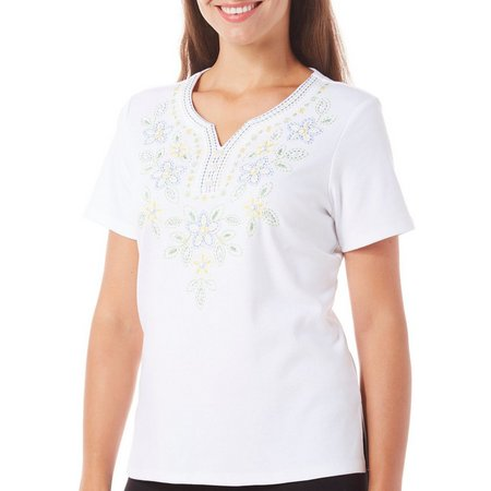 Alfred Dunner Womens Blue Lagoon Embroidered Top