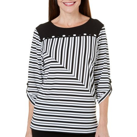Alfred Dunner Womens Saratoga Springs Striped Top
