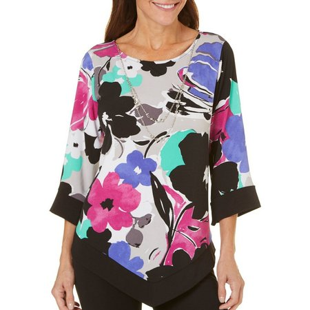 Alfred Dunner Womens Saratoga Springs Printed Top