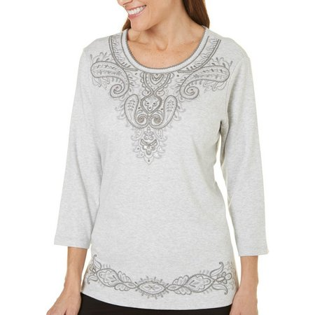 Alfred Dunner Womens Arizona Sky Embroidered Top