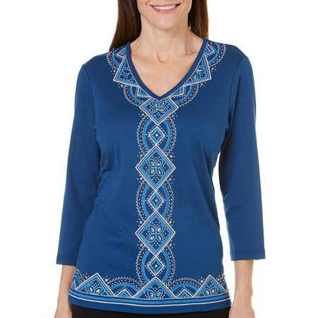 Alfred Dunner Womens Arizona Sky Embellished Top