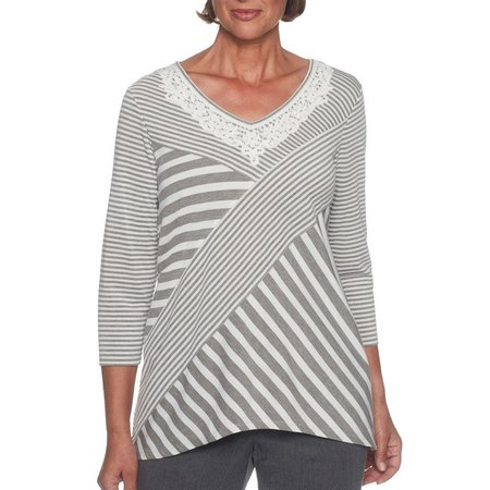 Alfred Dunner Womens Lakeshore Drive Striped Top
