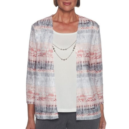 Alfred Dunner Womens Lakeshore Drive Necklace Duet Top