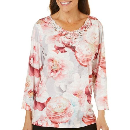 Alfred Dunner Womens Floral Print Lace Neck Top