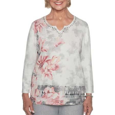Alfred Dunner Womens Lakeshore Drive Mixed Floral Top