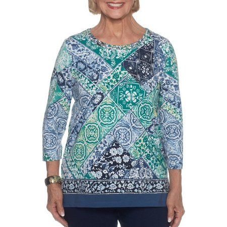 Alfred Dunner Womens Montego Bay Patchwork Print Top